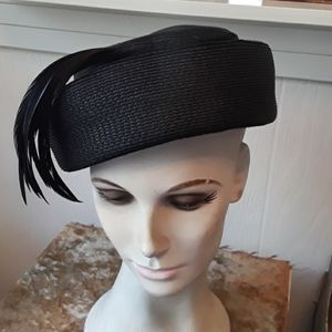 Vintage Black Hat with Black Feathers